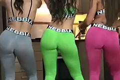 3 asses wiggling twerking in the kitchen
